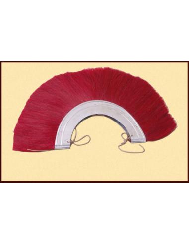 Červený kovový chochol na rímsku prilbu
