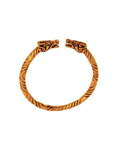Bronzový vikingský náramok s drakmi