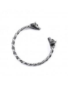 Strieborný vikingský náramok s vlkmi