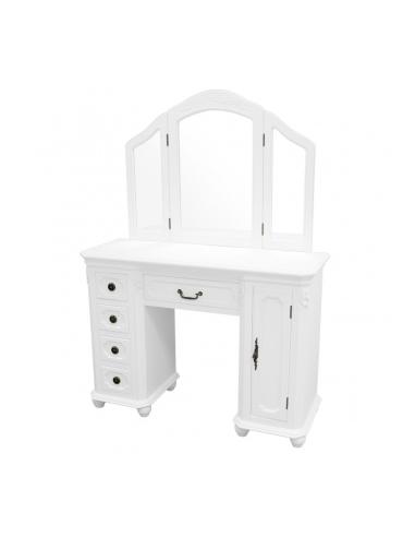 Biely toaletný stolík so zrkadlami...