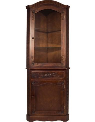 Rohová skriňa s vitrínou S56885