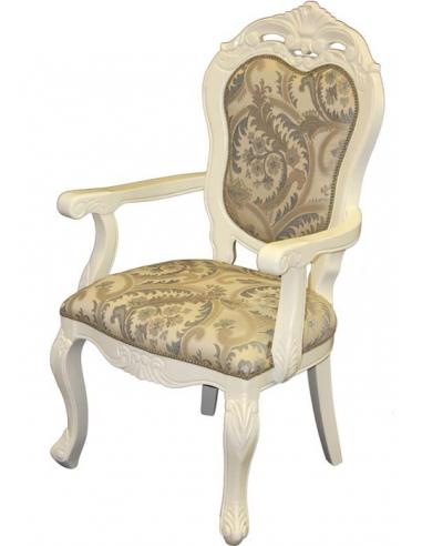 Biela zdobená stolička s béžovým...