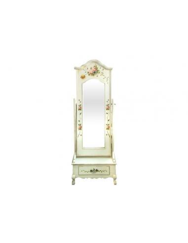Biele zrkadlo zdobené kvetmi