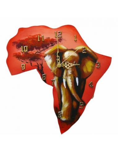 Hodiny s motívom Afriky so slonom...