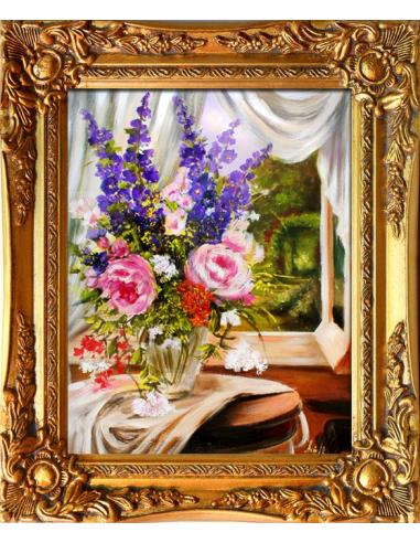 Obraz - Modré stračky a ružové ruže