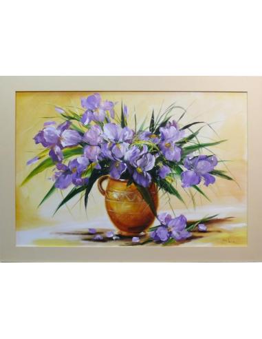 Obraz - Zdobená kytica modrých kosatcov