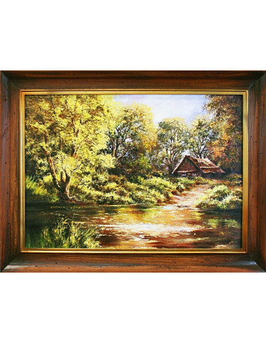 Obraz - Lesný domček nad potokom