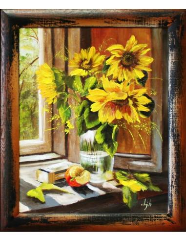 Obraz - Kytica slnečníc na okne