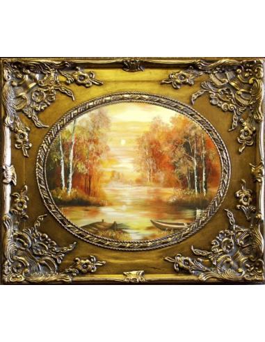 Obraz - Čln na jazierku v lese