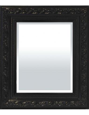Menšie zrkadlo v čiernom zdobenom ráme
