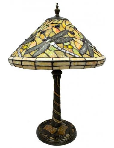 Stolná lampa s vitrážou s vážkami L62547