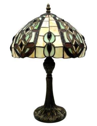 Vitrážna lampa so zeleno-hnedým...