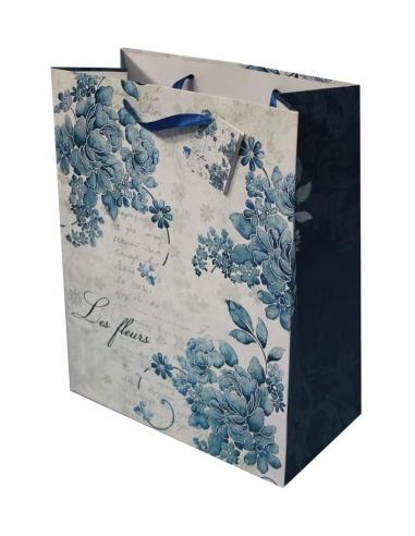 Papierová taška s modrými kvetmi