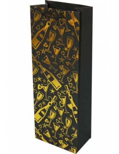 Darčeková papierová taška čierno-zlatá