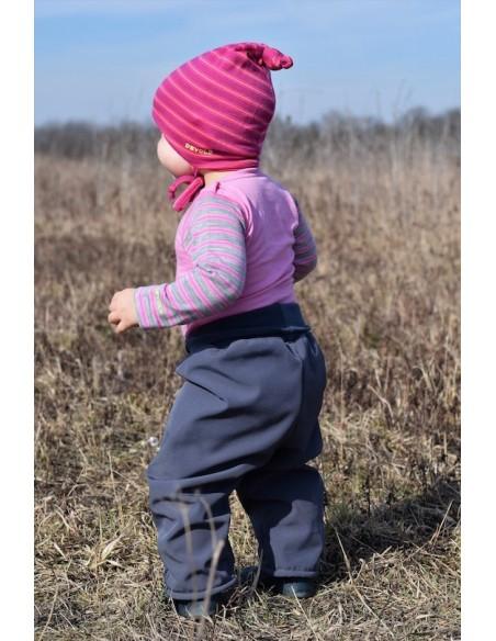 Unuo detské softshellové nohavice s fleecom pre najmenších Basic