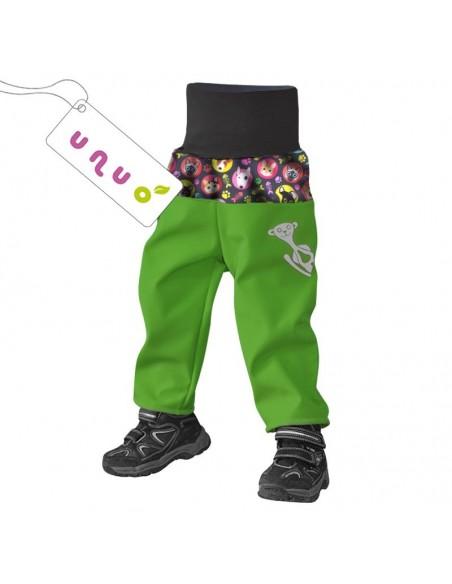 Unuo dievčenské softshellové nohavice s fleecom pre najmenších Mačka a pes