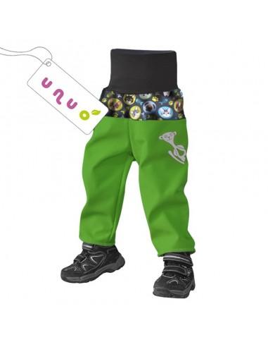 Unuo chlapčenské softshellové nohavice s fleecom pre najmenších Mačka a pes