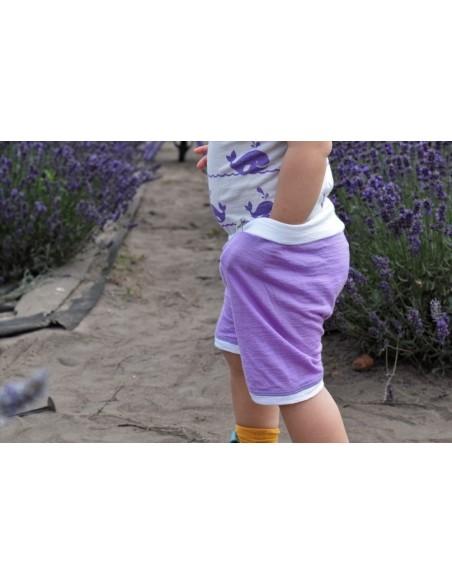 Crawler Merino rastúce detské kraťasy Levanduľová