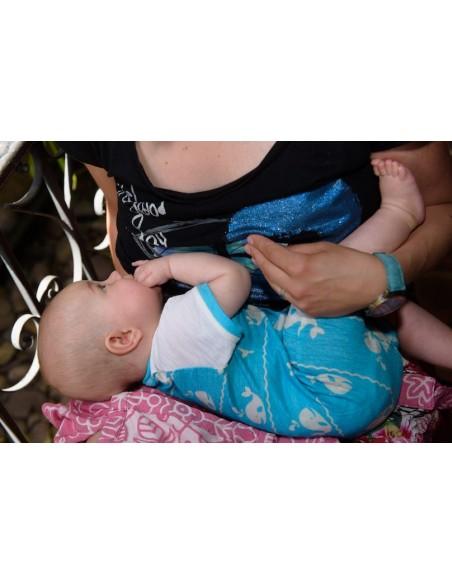 Crawler Merino rastúci detský overal kraťasový Veľryby Tyrkysová