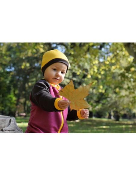 Crawler Merino detská čiapka dvojvrstvová Mangová