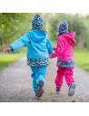 Unuo dievčenské softshellové nohavice s fleecom pre najmenších Kvietky