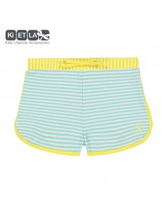 KiETLA detské plavkové šortky s UV ochranou Zelený pásik