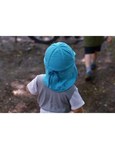 Crawler Merino detská rastúca šiltovka Tyrkysová